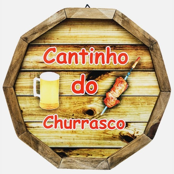 PLACA CANTINHO DO CHURRASCO 33 CM 1928