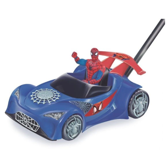 CARRO DE EMPURRAR SPIDERMAN C/ HASTE 41CM 2382 - LIDER