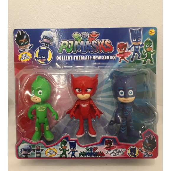 KIT CARTELA BONECOS PJMASKS 3 PCS 15CM